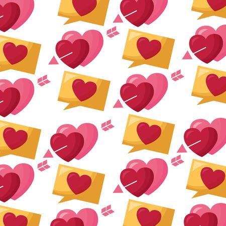 valentine day hearts pierced arrows background decoration vector illustration