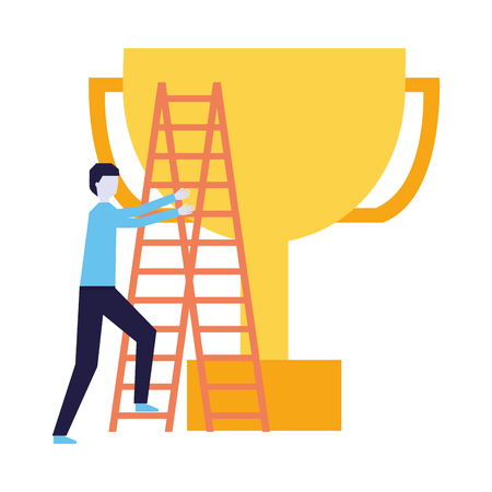 business man climb stairs and trophy vector illustration