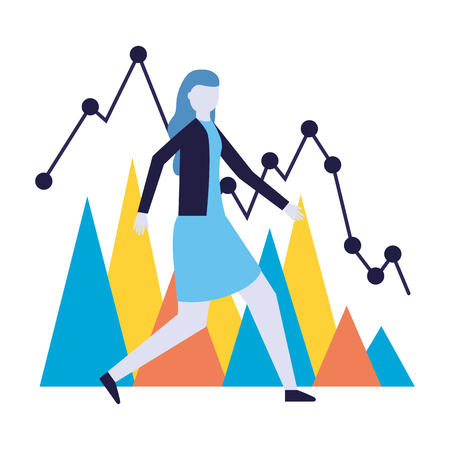 business woman chart report financial vector illustration