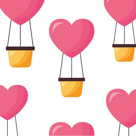 valentine day hot air balloons love background vector illustration Stock Vector - 114242236