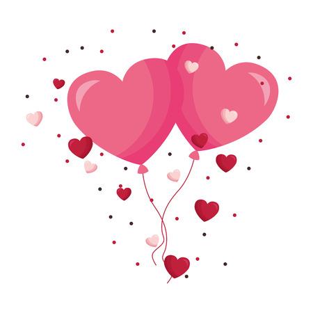valentine day card flying hearts balloons love vector illustration Stock Vector - 114242473