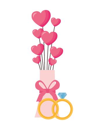 valentine day card vase hearts rings vector illustration
