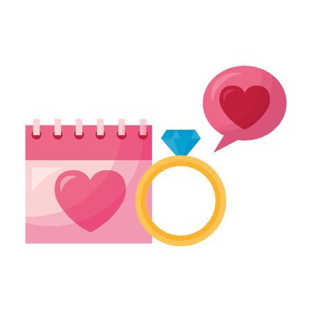 valentine day card calendar love ring speech bubble vector illustration Standard-Bild - 114242482