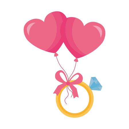 valentine day card balloons heart ring vector illustration Standard-Bild - 114242483