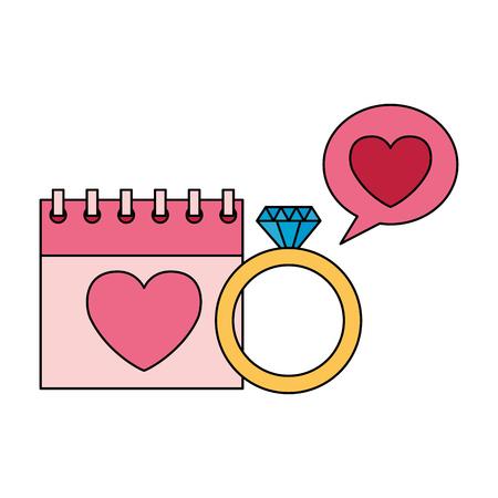 valentine day card calendar love ring speech bubble vector illustration Standard-Bild - 114242485