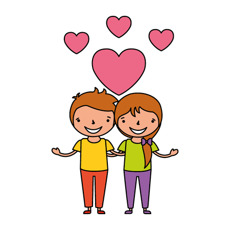 couple boy and girl hugging love hearts vector illustration