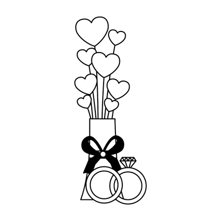 valentine day card vase hearts rings vector illustration Standard-Bild - 114242721
