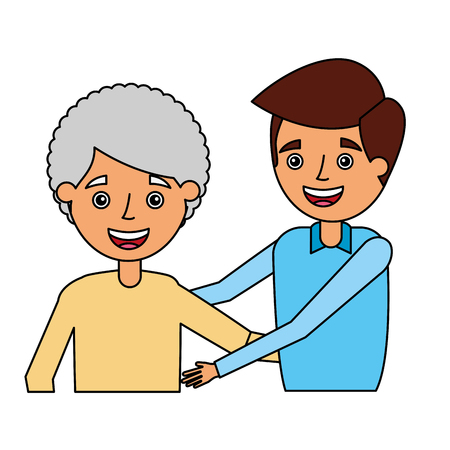 grandmother and grandson embraced family vector illustration Ilustrace