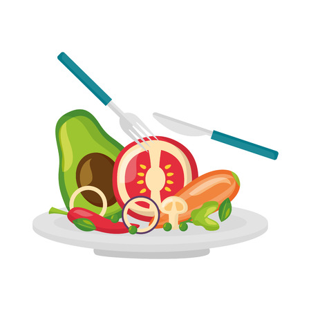 salad dish fork knife healthy food vector illustration Standard-Bild - 114627777