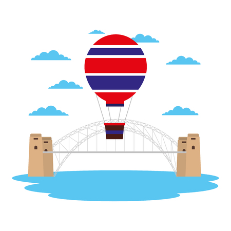 australia harbor bridge hot air balloon landmark vector illustration Illustration
