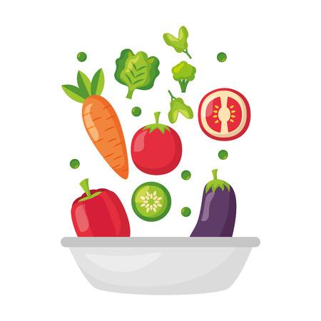 Cuenco con verduras ilustración de vector de comida sana