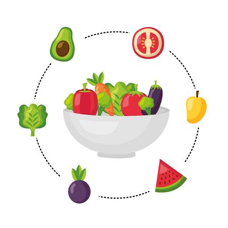 healthy food fruits vegetables on bowl vector illustration Ilustração