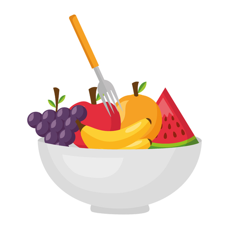 bowl with fruits fork healthy food vector illustration  イラスト・ベクター素材