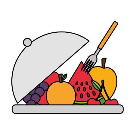 fruits on dish with fork fresh health food vector illustration Archivio Fotografico - 126462983