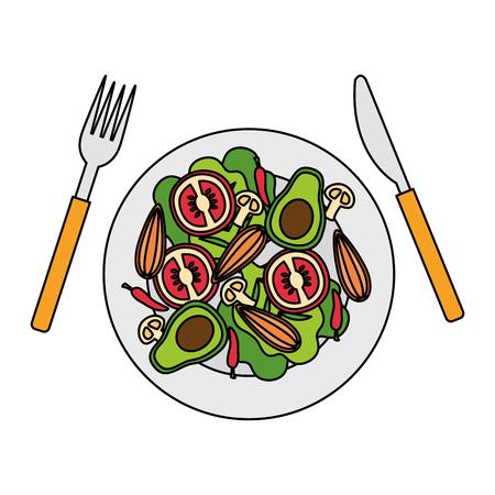 salad dish fork knife healthy food vector illustration Standard-Bild - 114634019