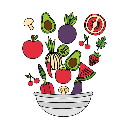 vegetables fruits bowl fresh healthy food vector illustration