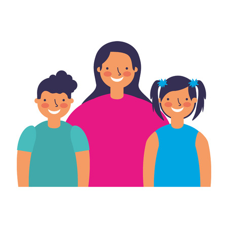 mother with son and daughter vector illustration