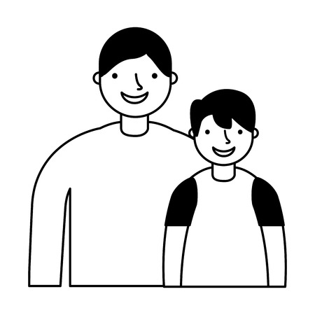 father and son characters on white background vector illustration