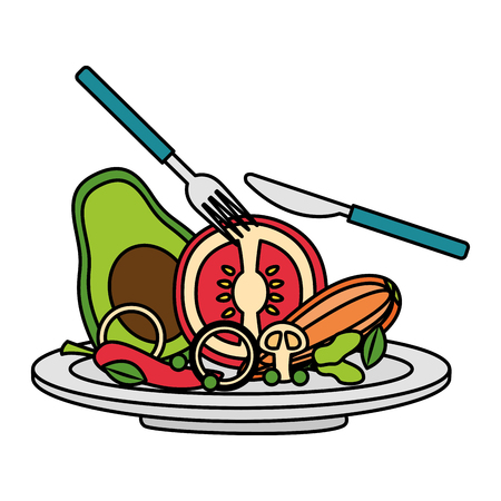 salad dish fork knife healthy food vector illustration Standard-Bild - 114629539