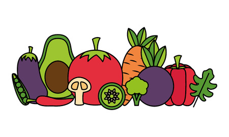 vegetables fresh healthy food on white background vector illustration