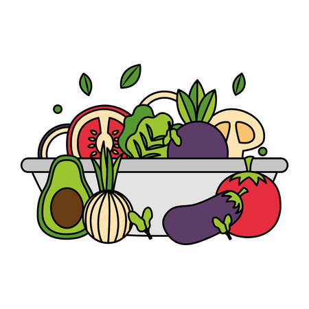 bowl with vegetables healthy food vector illustration