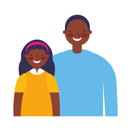 father with daughter on white background vector illustration