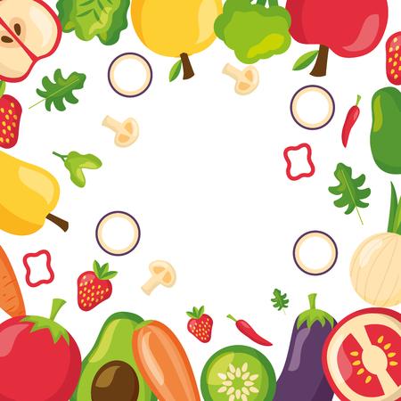 healthy food background fruits vegetables vector illustration Illustration