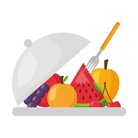 fruits on dish with fork fresh health food vector illustration Illustration