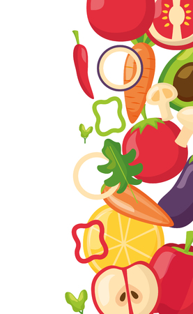 healthy food vegetables and fruits fresh border vector illustration