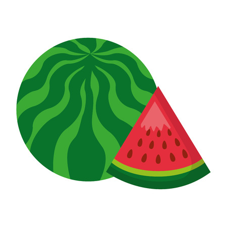 watermelon fresh healthy food on white background vector illustration Stock Vector - 114629811