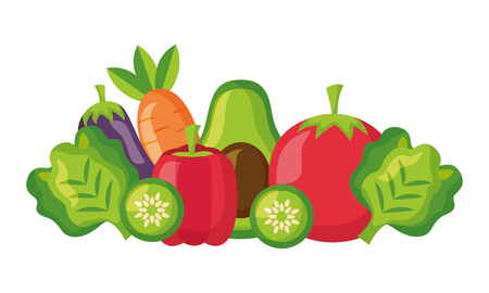 vegetables fresh healthy food on white background vector illustration Archivio Fotografico - 126463006