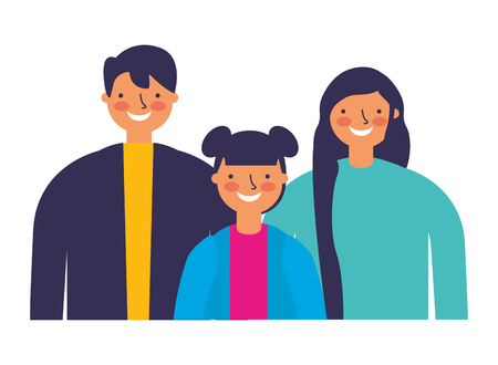 father mother and daughter portrait vector illustration