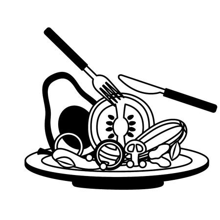 salad dish fork knife healthy food vector illustration Standard-Bild - 126463014