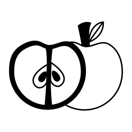 apple fresh healthy food on white background vector illustration Vector Illustration