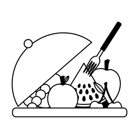 fruits on dish with fork fresh health food vector illustration Archivio Fotografico - 126463030