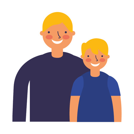father and son characters on white background vector illustration Ilustração