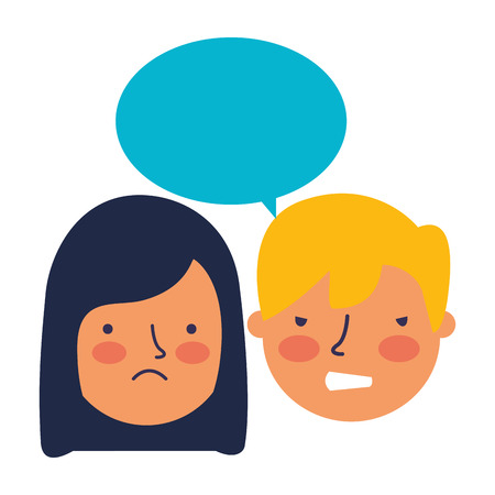 boy and girl sad emotion speech bubble vector illustration
