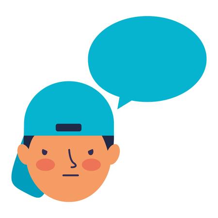 boy face sad speech bubble vector illustration Standard-Bild - 126463049