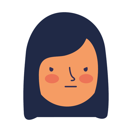girl face sad expression gesture vector illustration Çizim