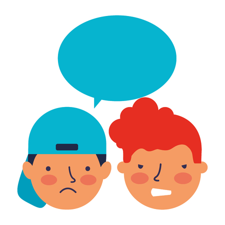 boys face sad expression speech bubble vector illustration Standard-Bild - 126463056