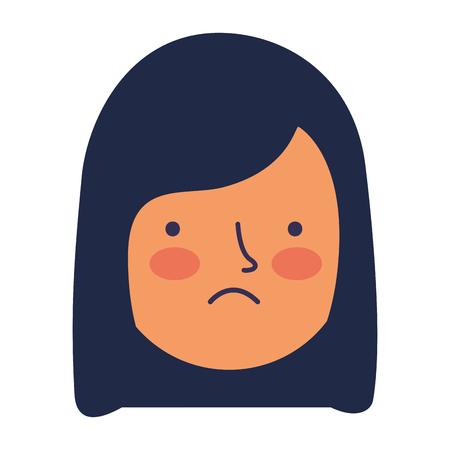 girl face sad expression gesture vector illustration Ilustracja