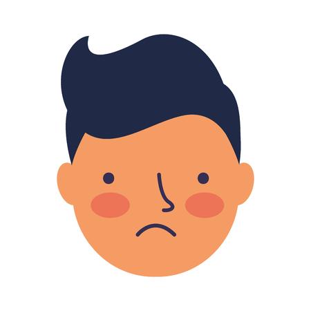 boy face sad expression gesture vector illustration Standard-Bild - 126463065