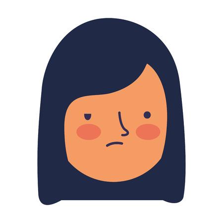 meisje gezicht droevige uitdrukking gebaar vectorillustratie
