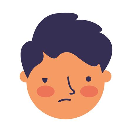 boy face sad expression gesture vector illustration Standard-Bild - 126463071