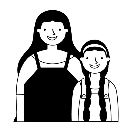 mother and daughter on white background vector illustration