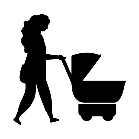 woman walking with baby pram vector illustration Ilustração