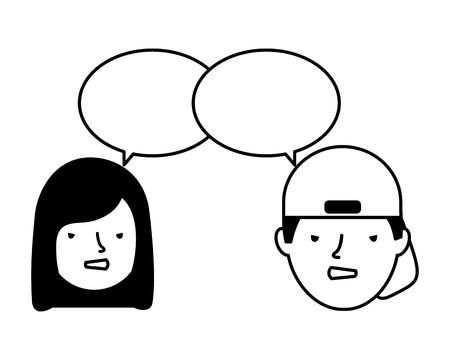boy and girl sad emotion speech bubble vector illustration