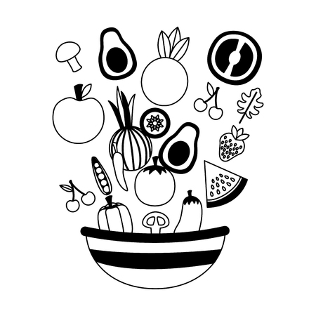 vegetables fruits bowl fresh healthy food vector illustration Standard-Bild - 126463090