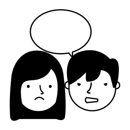 boy and girl sad emotion speech bubble vector illustration Standard-Bild - 126463096