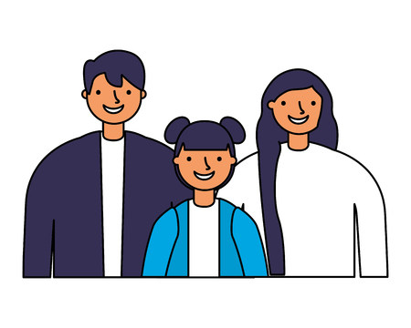 father mother and daughter portrait vector illustration  Ilustrace